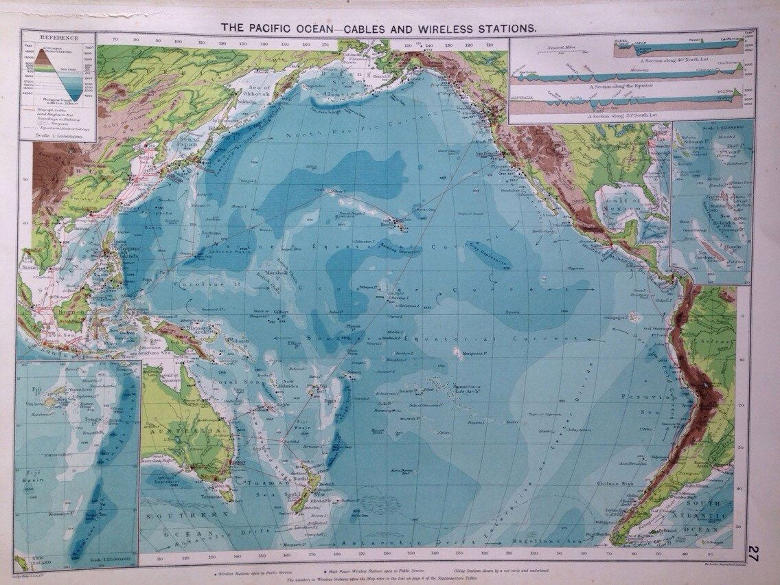 1920 Pacific Ocean Map Showing Cables And Wireless Stations - Pacific-ocean-on-us-map