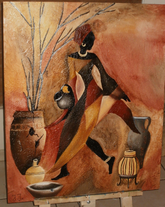 Africana con jarrones pinturas arte 396086 for Laminas de cuadros modernos