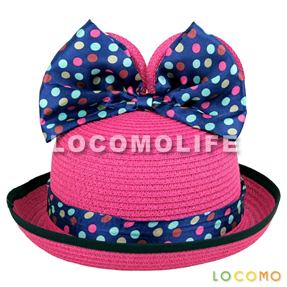 b6cd0a8d5 Girl Cute Mickey Minnie Mouse Ear Ribbon Bow Straw Hat Rose Pink ...