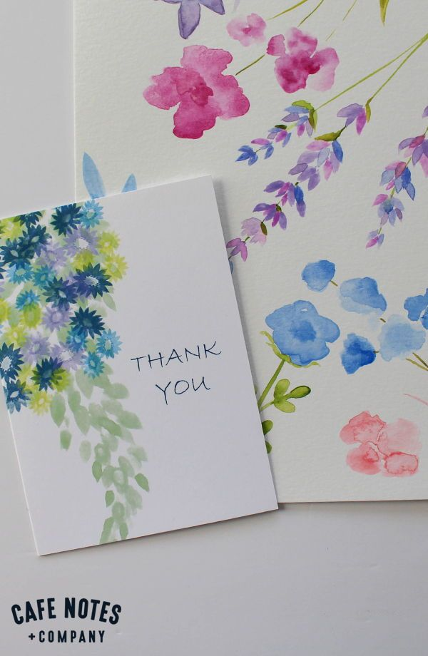 Watercolor Flowers Thank You Greeting Card Cafe Notes Company Thank You Greeting Cards Paint Cards Gift Tag Cards