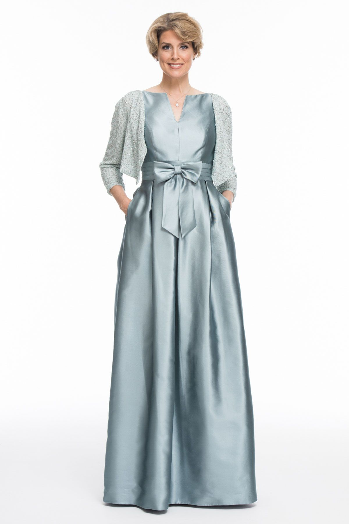 Long Shantung Silk Dress, Hand Beaded Cardigan | mother of the groom ...