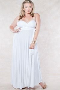 Elegant and simple, we love the Eternity Maxi White plus size wedding dress. Available for only $89