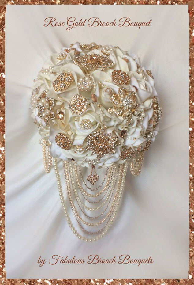 Rose Gold Brooch Bouquet Cascading Full Price