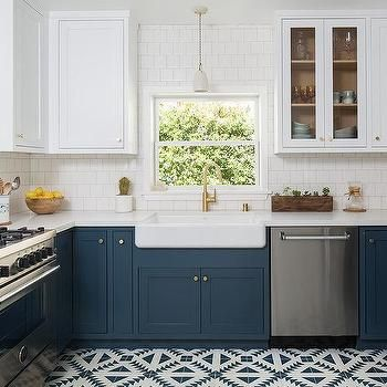 Best White Upper Cabinets And Dark Blue Lower Cabinets 400 x 300