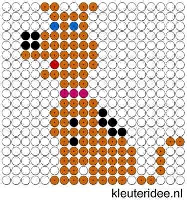 Kralenplank hond, kleuteridee.nl , free printable Beads patterns preschool
