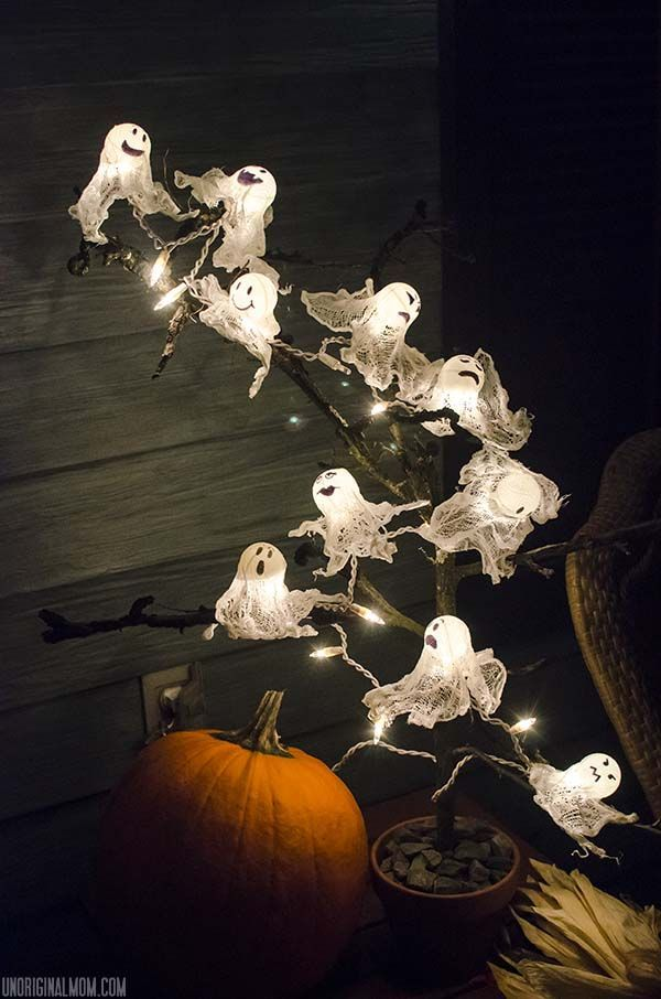 diy halloween lighting. DIY Ping Pong Ball Ghost Lights With Spooky Halloween Tree | UnOriginalMom.com Diy Lighting