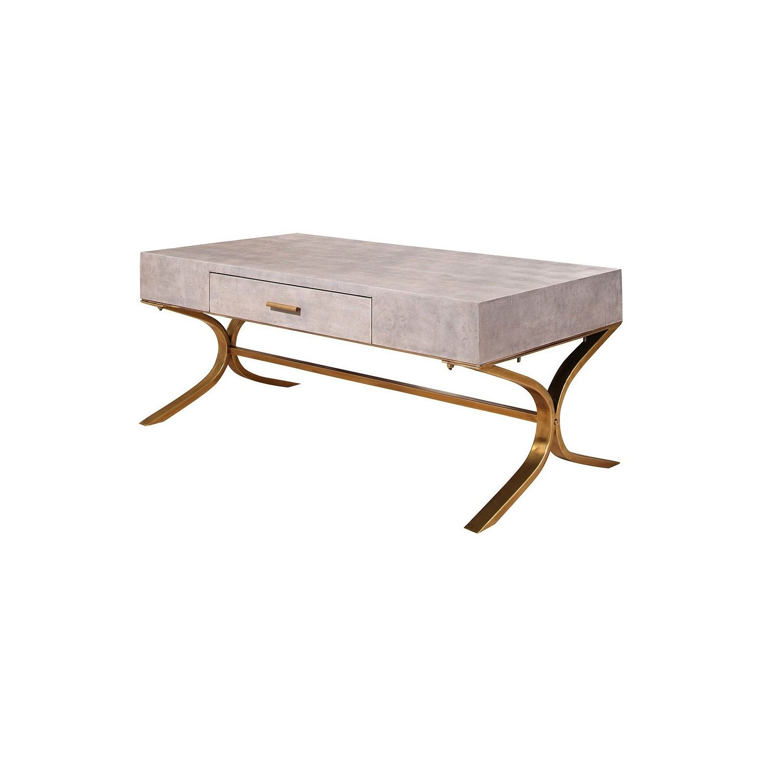 Niell Shagreen Leather Coffee Table Gray Abbyson
