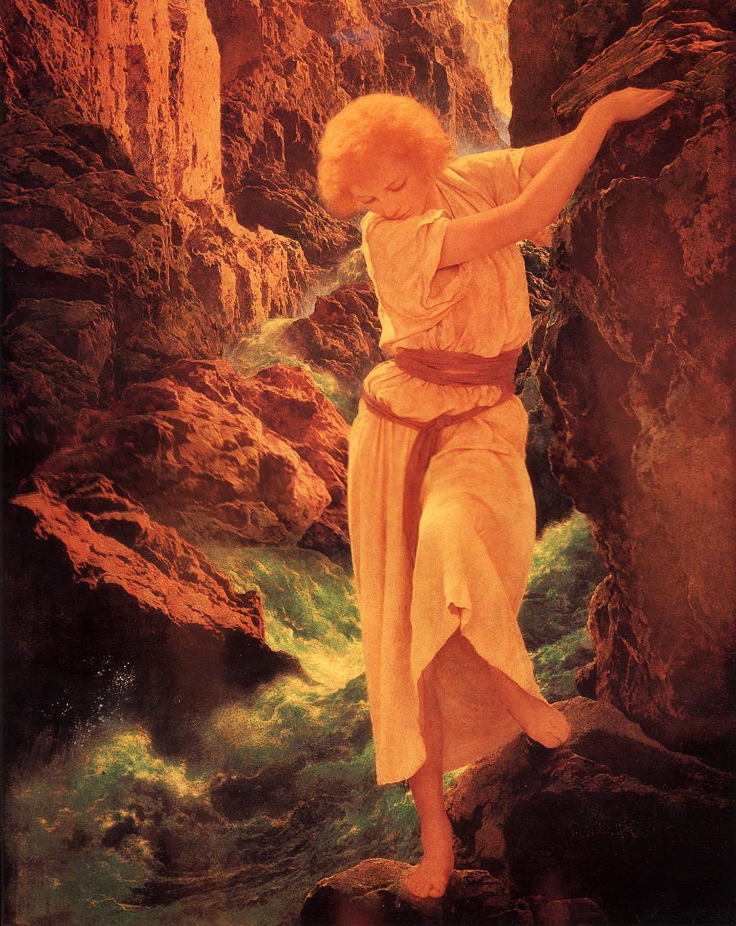 girls on rocks art and illustration from maxfield parrish