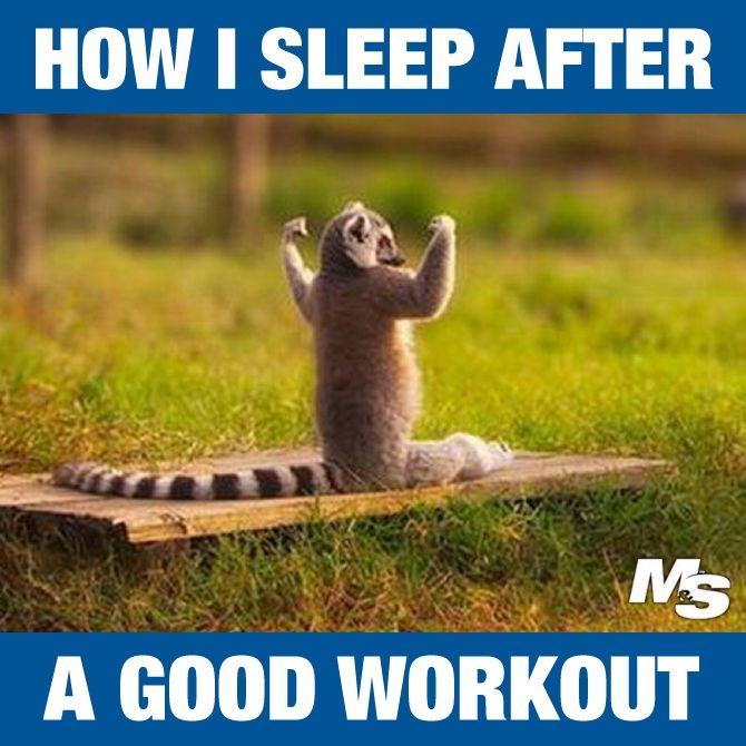 How I sleep after a good workout.