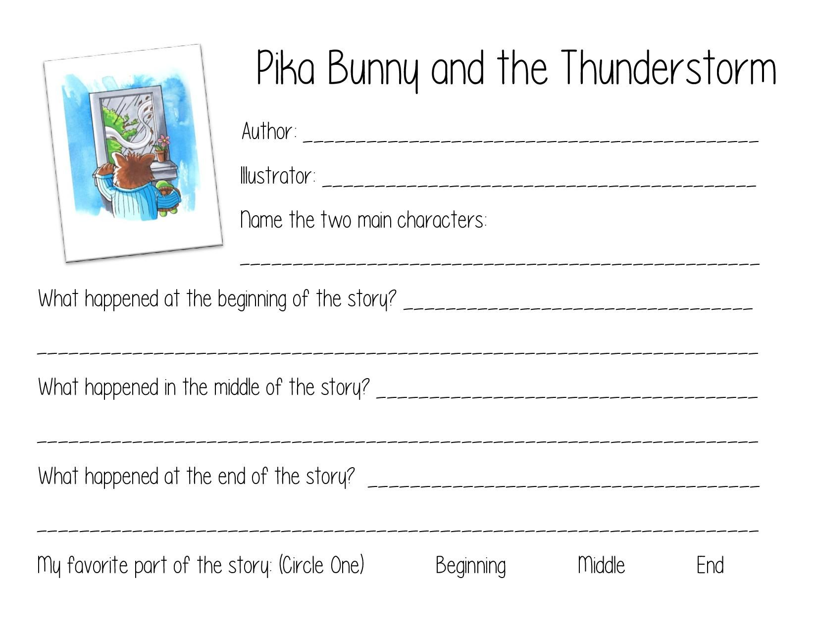 Free Worksheet For Pika Bunny And The Thunderstorm