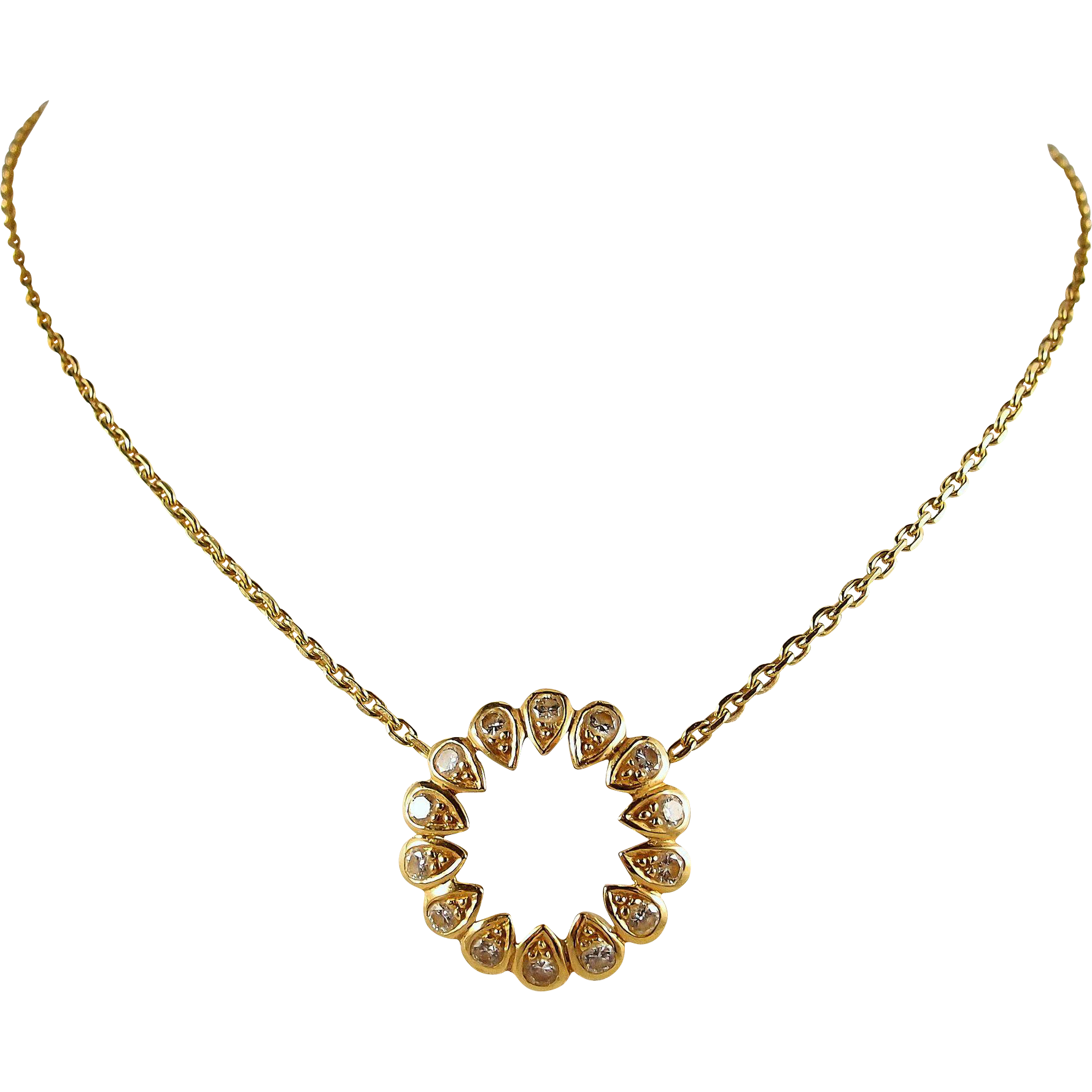 French Retro 18K solid gold eternal love necklace with 0.80ctw natural diamonds, stamped