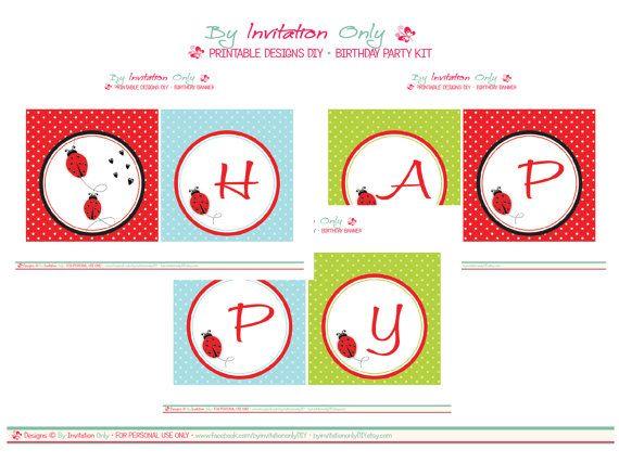 Ladybug Birthday Banner - Printables ByInvitationOnlyDIY  www.etsy.com/...    # Pin++ for Pinterest #