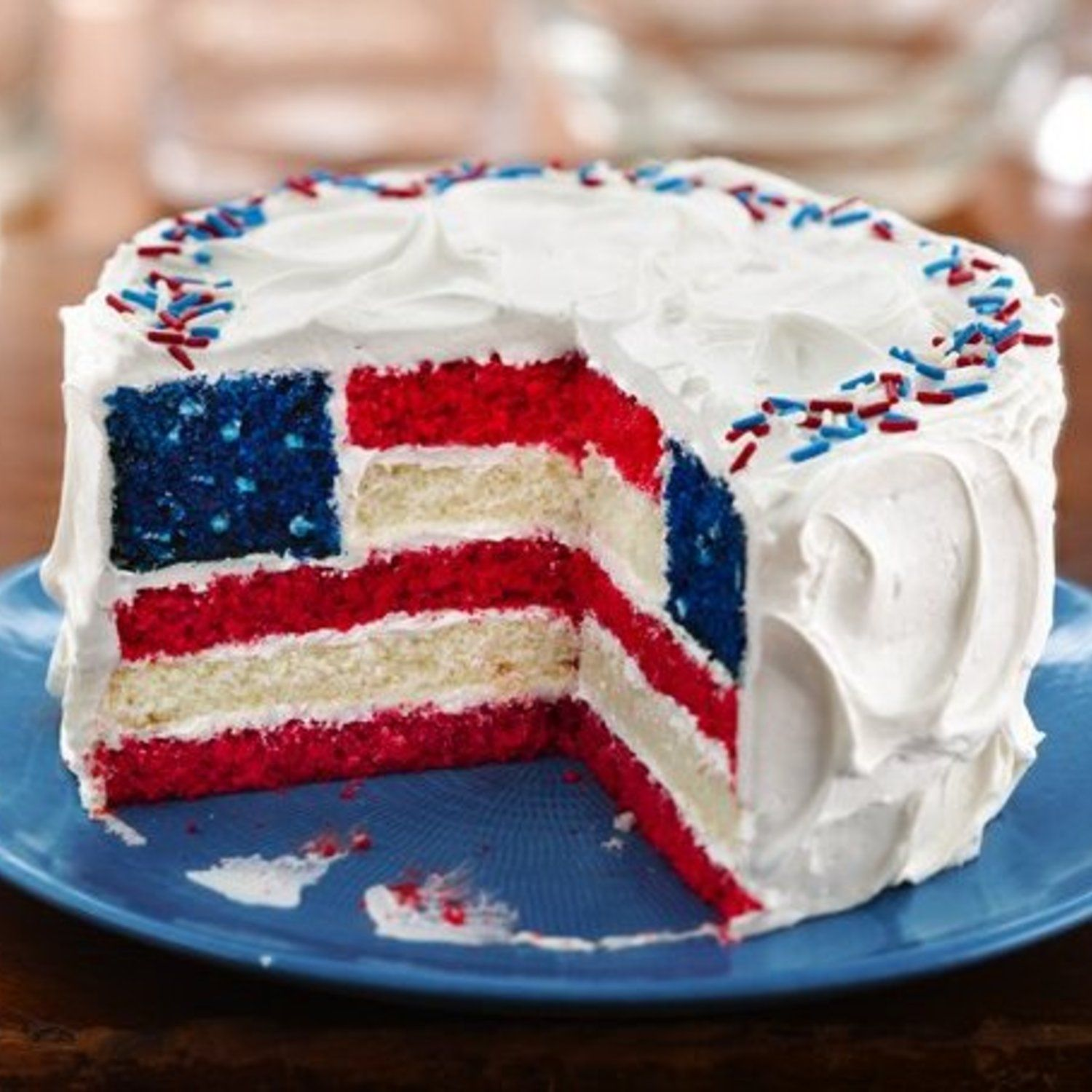 Labor Day Flag Cake Flag On Inside Of Cake Through Layering The
