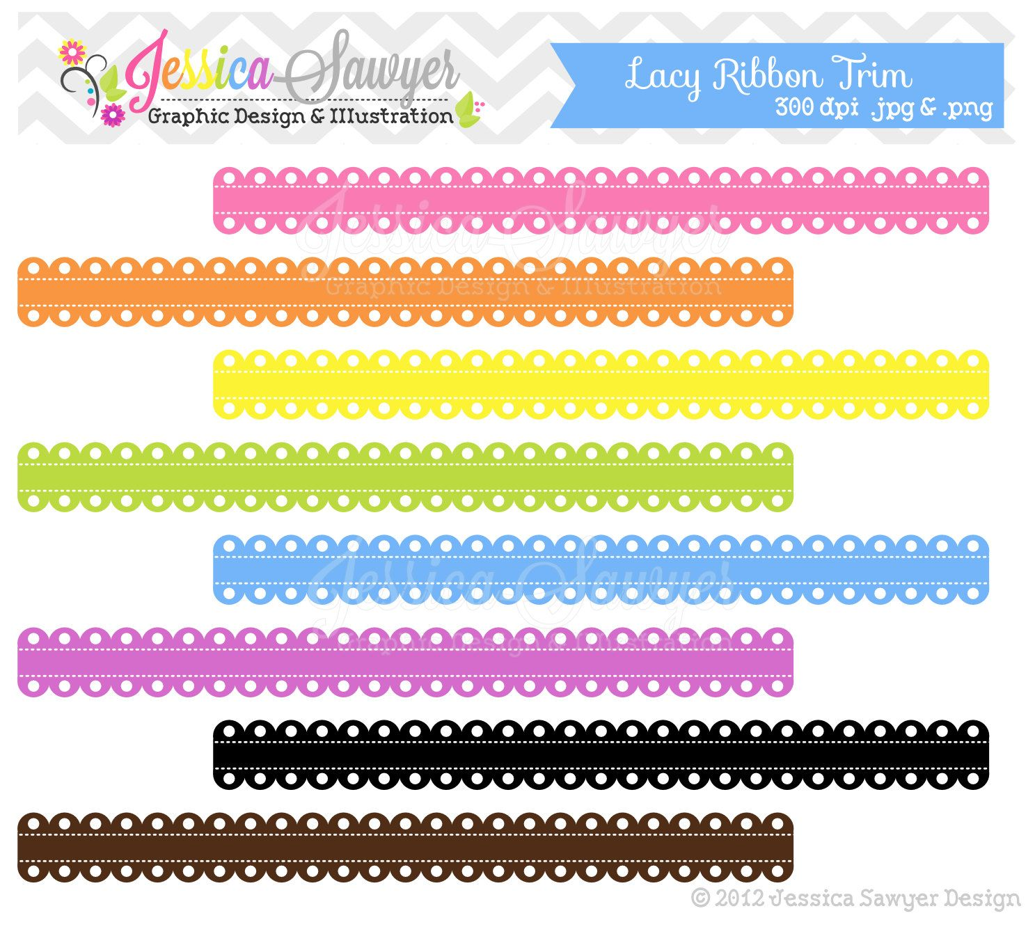 INSTANT DOWNLOAD Ribbon Border Lace Trim Digital Scalloped For Commercial