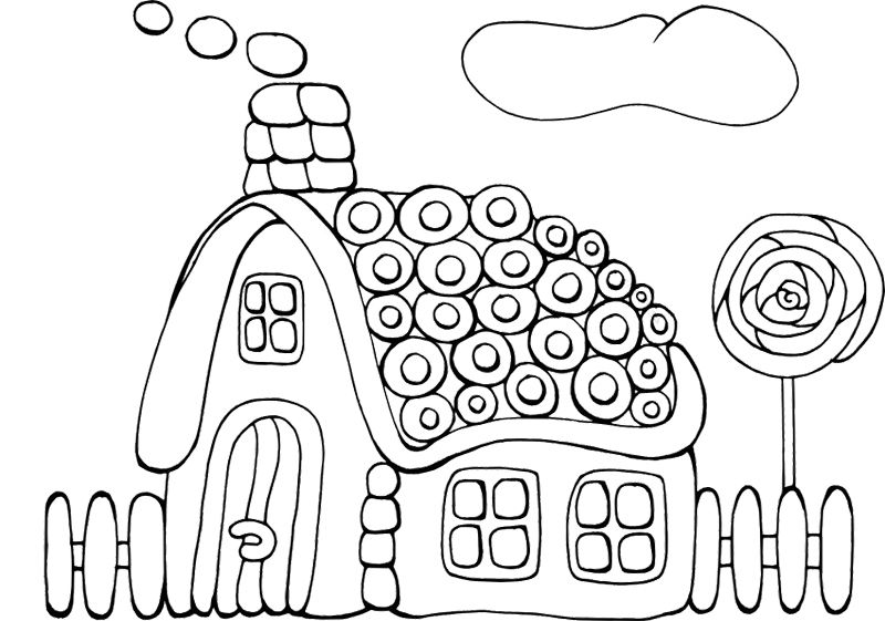 Cookie Gingerbread House Coloring Page (With images