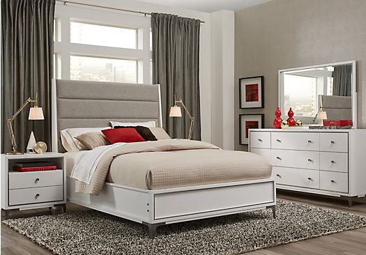Felicity White 5 Pc Queen Upholstered Bedroom in 2018 bed room