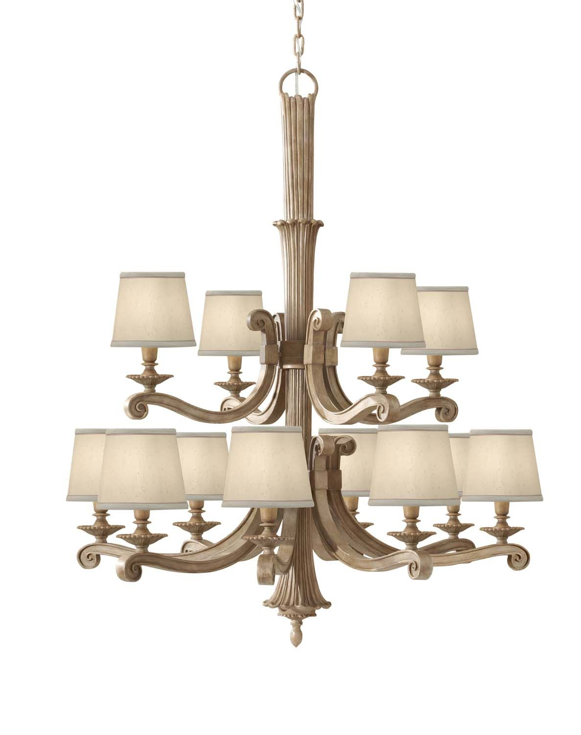 Blaire Chandelier In A Medium Aged Wood Finish Imitate Traditional Carved Light Each Candelabra Is Covered With Cream Beige Shantung Fabric Shade
