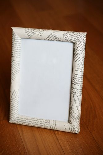 Decorating Frames - this one is done with pages from a book, but ...