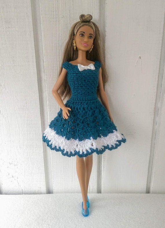 Barbie clothes Barbie Crochet Dress for Barbie Doll   Patrones ...