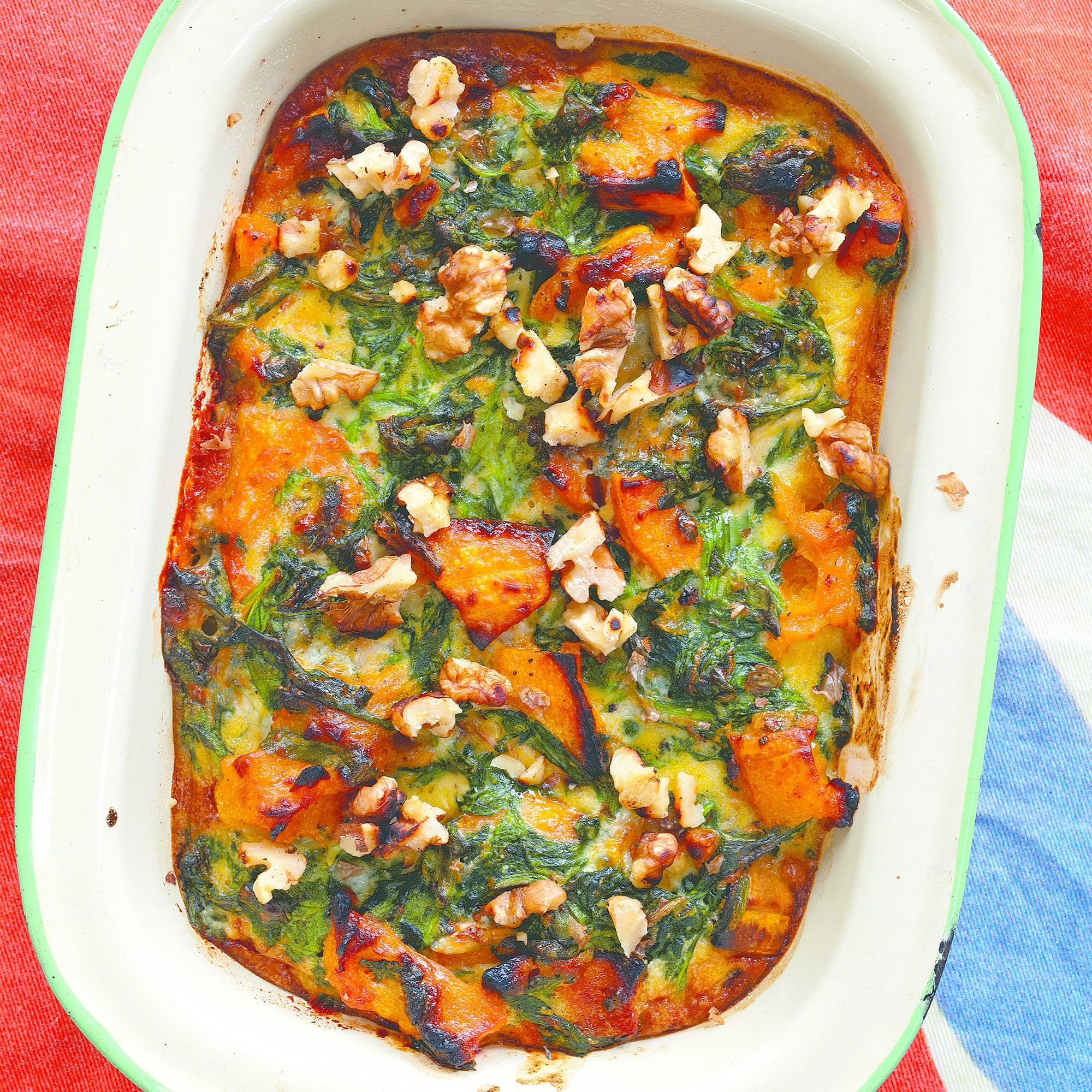 Taken from Leon: Fast Vegetarian by Jane Baxter and Henry Dimbleby, this is a simple bake combining some of our favourite flavours.