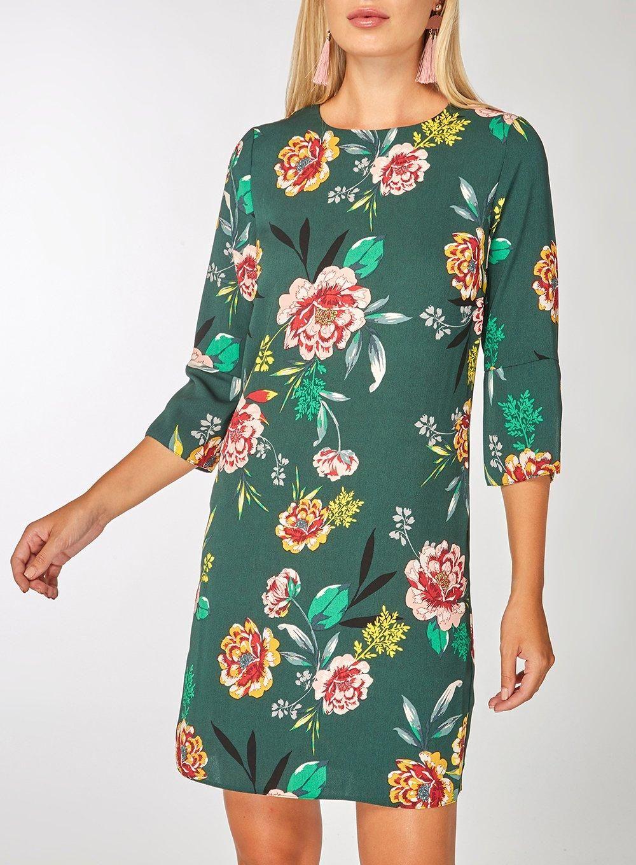 dbc7e9d9997d Teal Floral Print Shift Dress - Dorothy Perkins