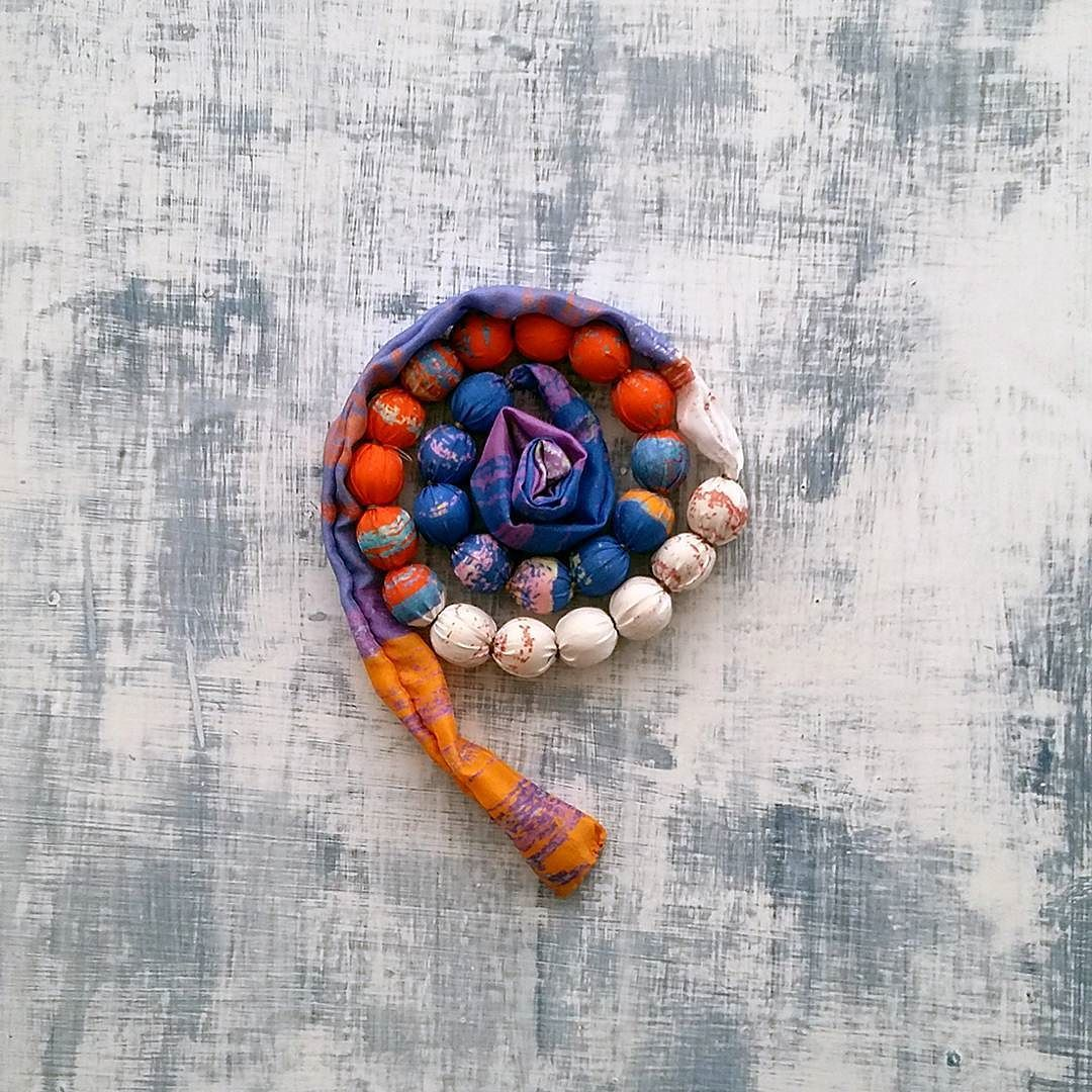 Colour block necklace made from silk printed in beautiful shades of