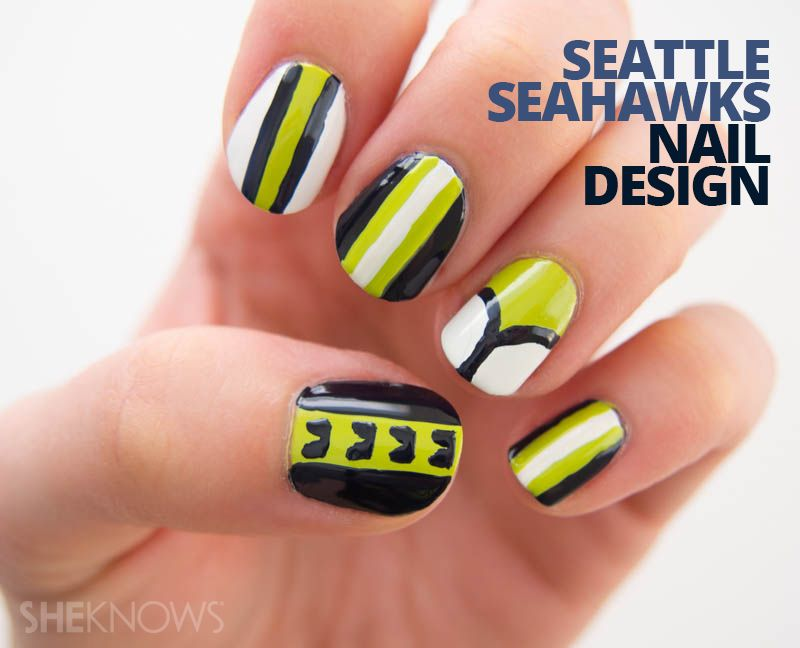 Color your nails with team spirit | Design tutorials, Seahawks nails ...