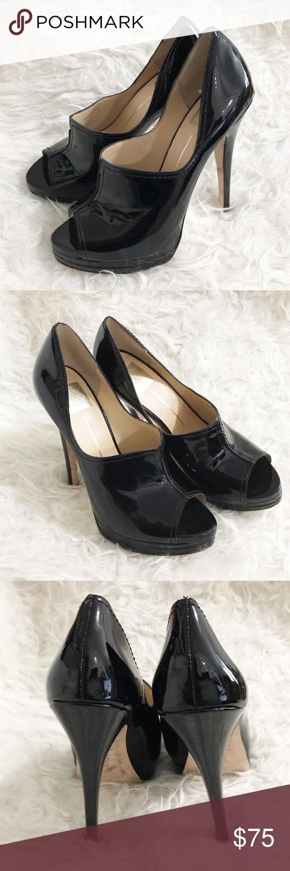 Dolce Vita Super High Heel Peeop Toe Shoes Size 8 Dolce Vita Super High Heel Black Patent Leather Peep Toe On Double Platfor Super High Heels Heels High Heels