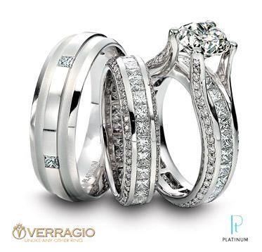Verragio Platinum And Diamond Engagement Ring With Matching Men S