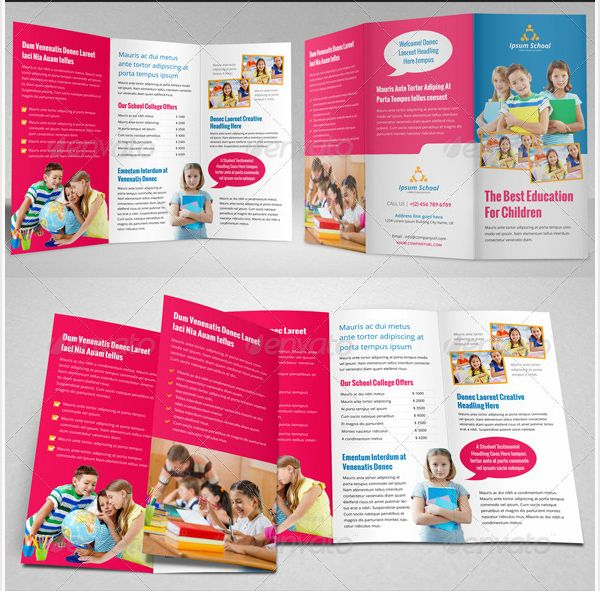 Brosur Sekolah Education School Trifold Brochure Template - Online brochures templates