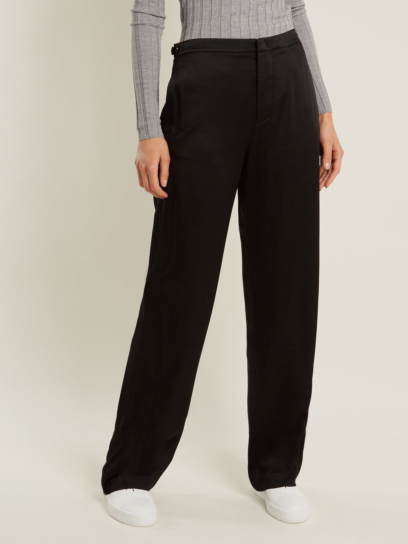 Outlet Recommend Release Dates Online Wide-leg crepe-back satin trousers Vince G6ws5nM