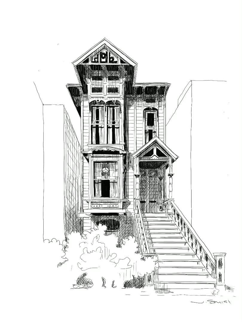 Long form sketch, SF townhome.