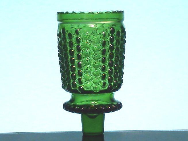 Peg Votive Holder Vintage Green Hobnail Scalloped Rim Rare Height: 3.75 inches (including stem) Width: 2 inches Highly detailed vintage holder Color:  Green Material: Glass Rare Style