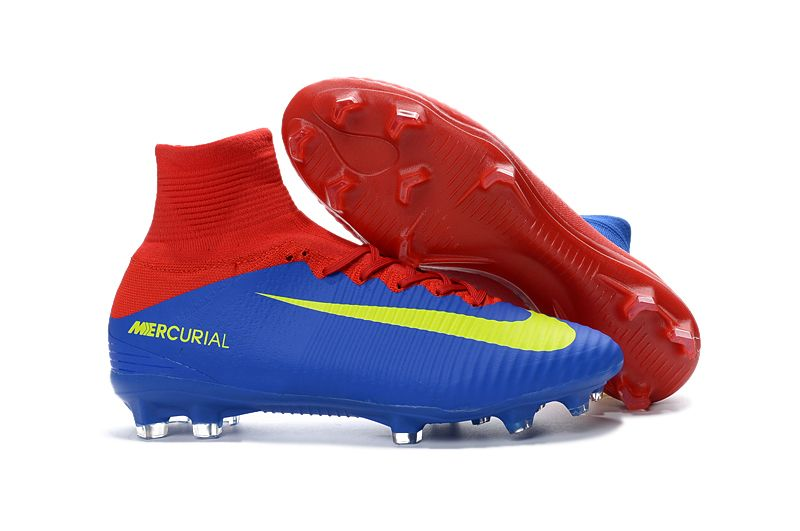 wholesale dealer free shipping pre order Nike Mercurial Superfly V FG Soccer Shoes Red Blue Yellow on ...