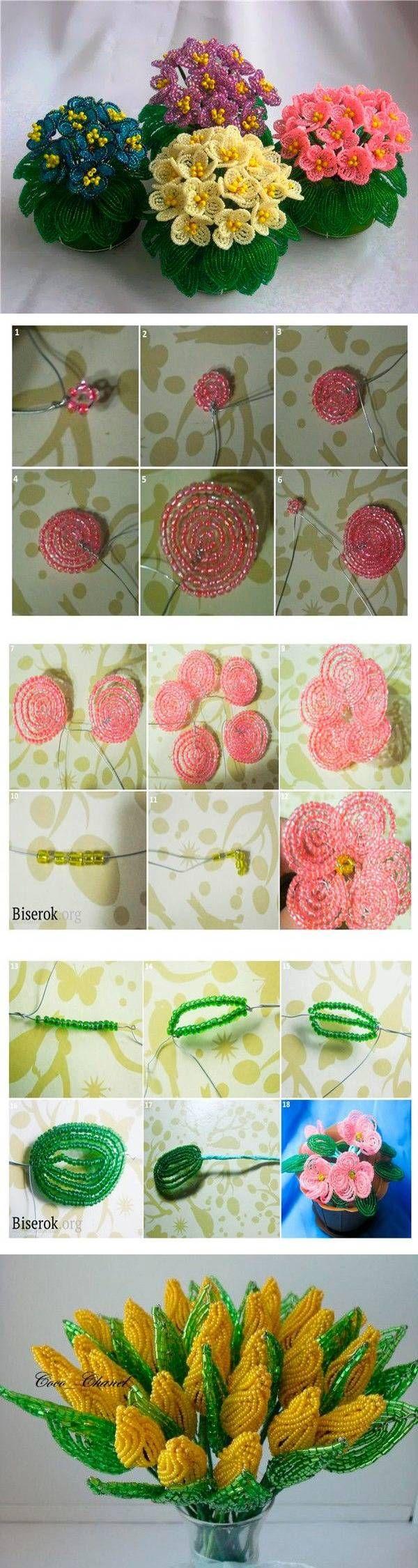 Цветы из бисера — 4 мастер-класса