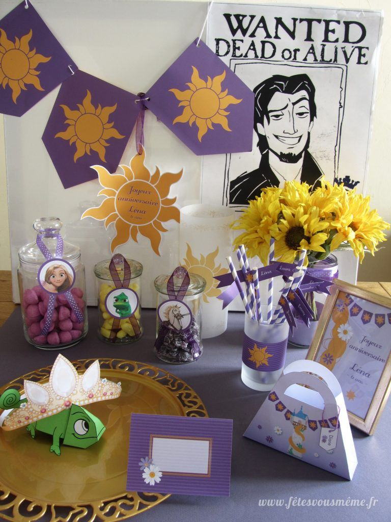 Kit d co raiponce tangled party pinterest - Decoration gateau raiponce ...
