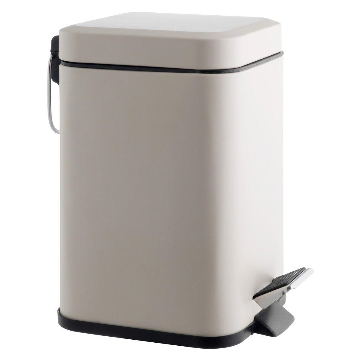 POLI Beige stainless steel bathroom bin Bathroom bin Beige and