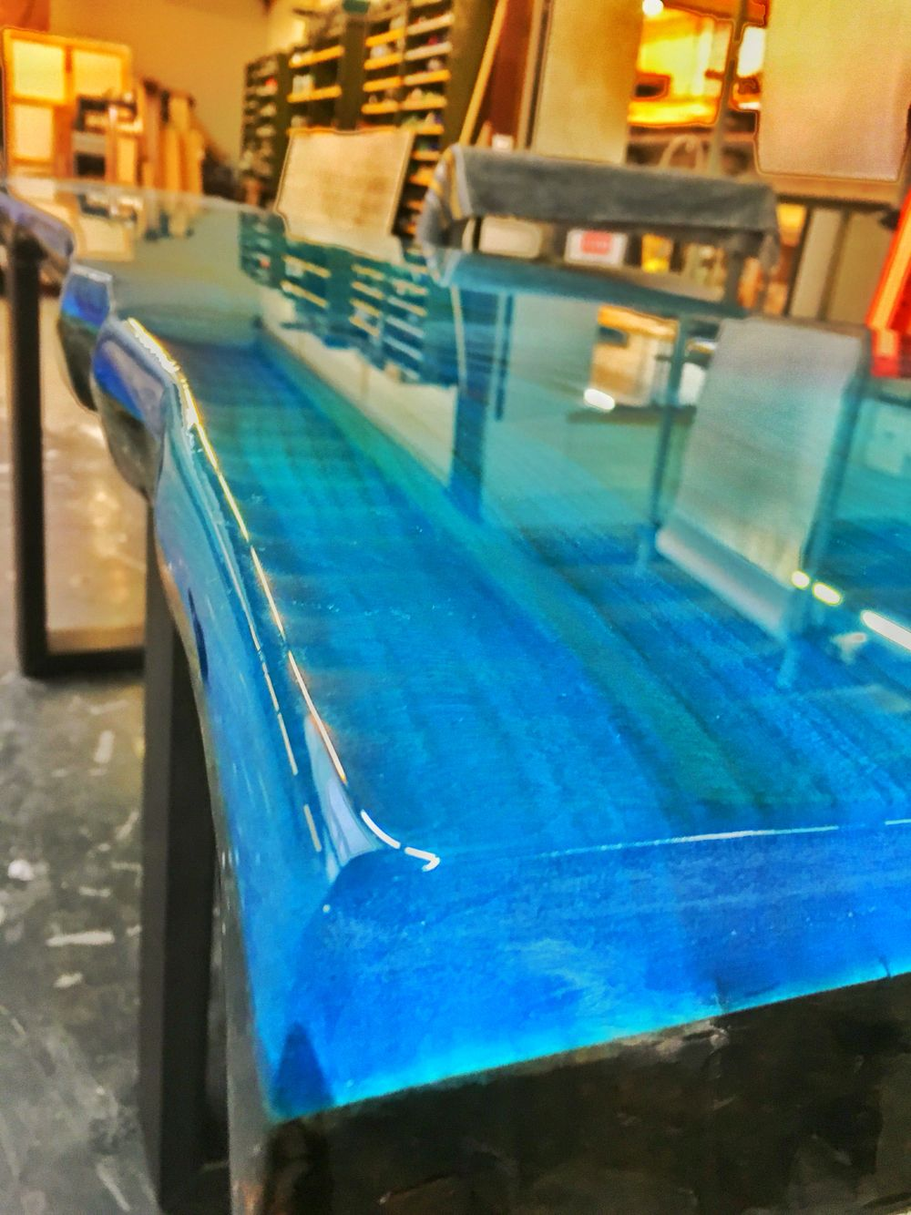 Epoxy resin ocean blue ccoating new collection line for Best bar top finish