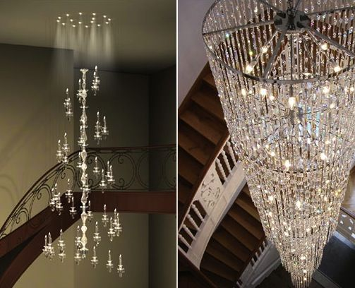 Windfall Contemporary World Class Crystal Chandeliers Staircase Collection