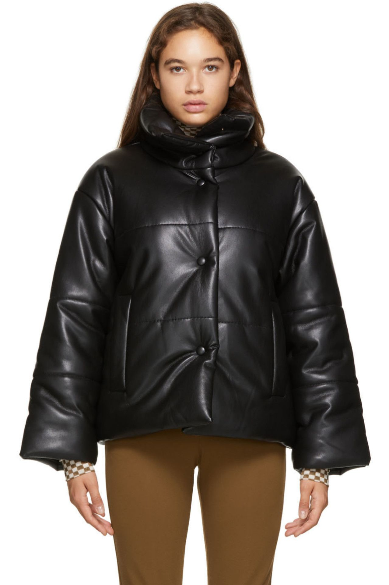 Black Faux Leather Puffer Jacket By Nanushka On Sale Leather Leather Mini City Chic [ 1920 x 1278 Pixel ]
