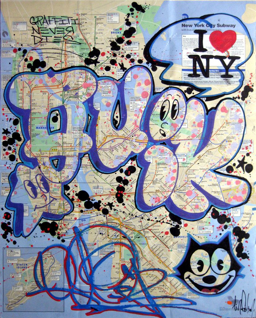 New York City Original Signed Subway Map Pop Art Banksy Style - Nyc map art