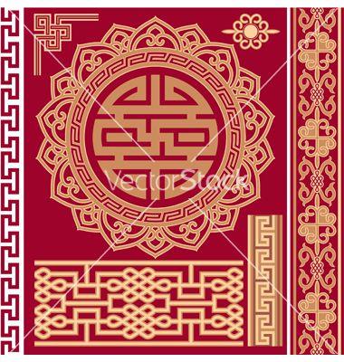 set of oriental design elements vector | dragon crane asian