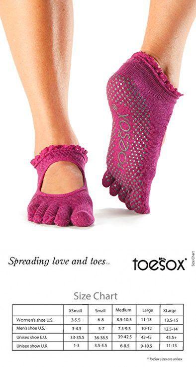 96a13a337 ToeSox Women's Bella Full Toe Socks (Lace Sangria) Small   Yoga ...