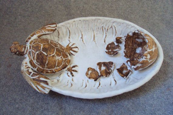 Nautical Ceramic Sea Turtle W egg Platter by Shayne Greco Beautiful Shabby Chic Mediterranean Sculpture Pottery
