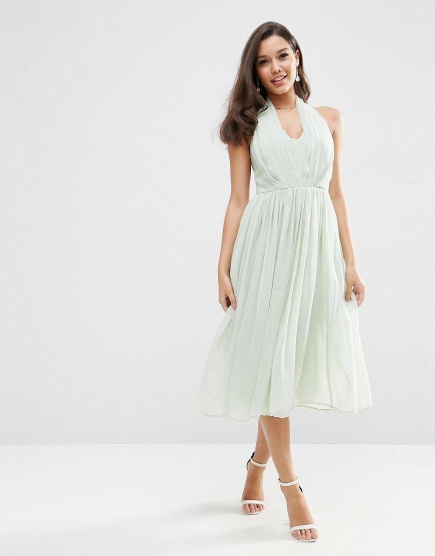 Asos wedding halter midi dress blue