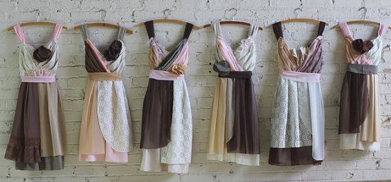 bridesmaids dresses in tan, cream, chocolate brown, and beige with pale blush accents by Armour sans Anguish #ecowedding #bridesmaidsdress #earthtones