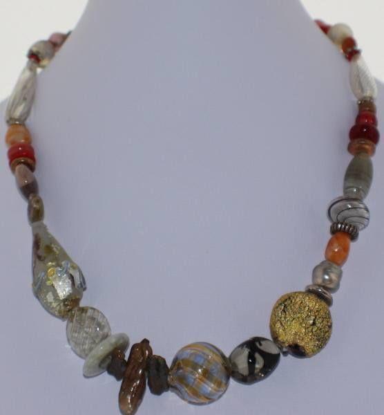 Murano Glass Necklace in Neutrals