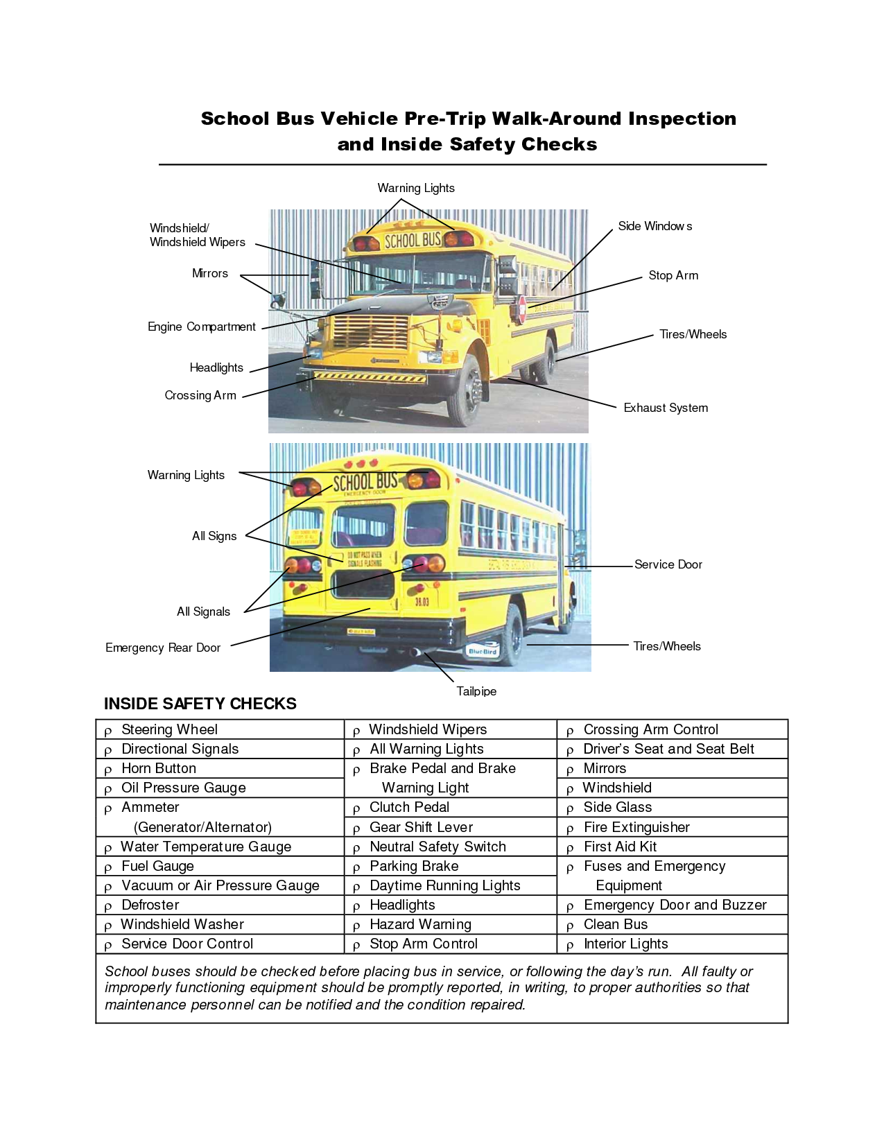 School Bus Pre Trip Inspection Checklist