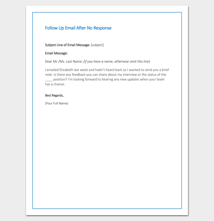 follow up email after no response sample example format cover letter example