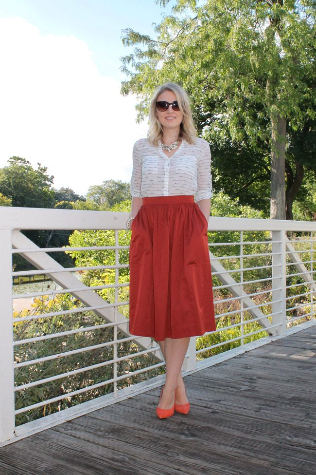 Burnt Orange :: { midi skirt by zara } | || On The Blog ...